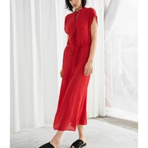 & other stories red dress with tie
